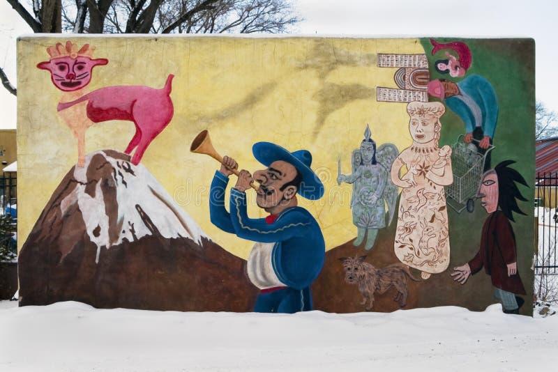 Spaanse Muurschildering, Fe van de Kerstman, New Mexico, de V.S. stock fotografie