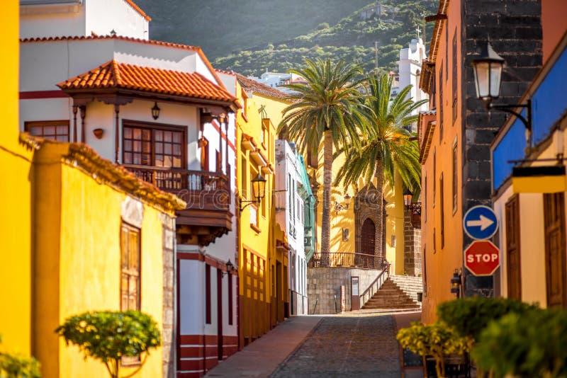 Spaanse oude stad op het eiland van Tenerife stock afbeelding