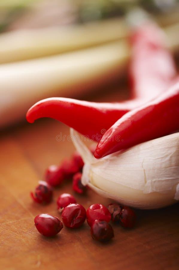 Spaanse peper en knoflook royalty-vrije stock afbeelding