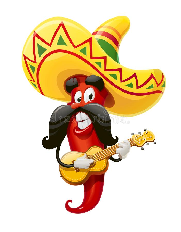 Spaanse peper Karakter voor Cinco de Mayo stock illustratie