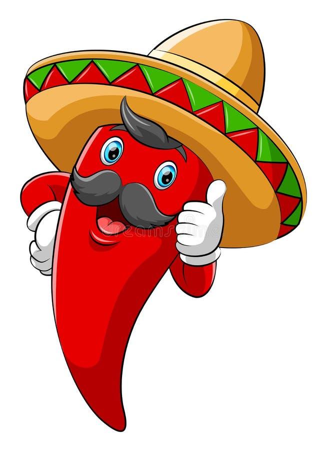 Spaanse peper met sombrero die duim opgeven vector illustratie