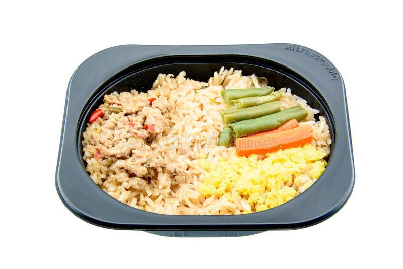 Spaanse peperdeeg met varkensvlees en gebraden rijst, een innovatieve onmiddellijke maaltijd voor het koortsachtig leven stock foto