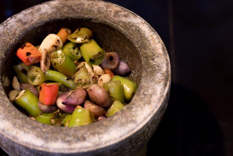 Spaanse peperdeeg voor Kruidige makreel in Thais kokend voedsel stock afbeelding
