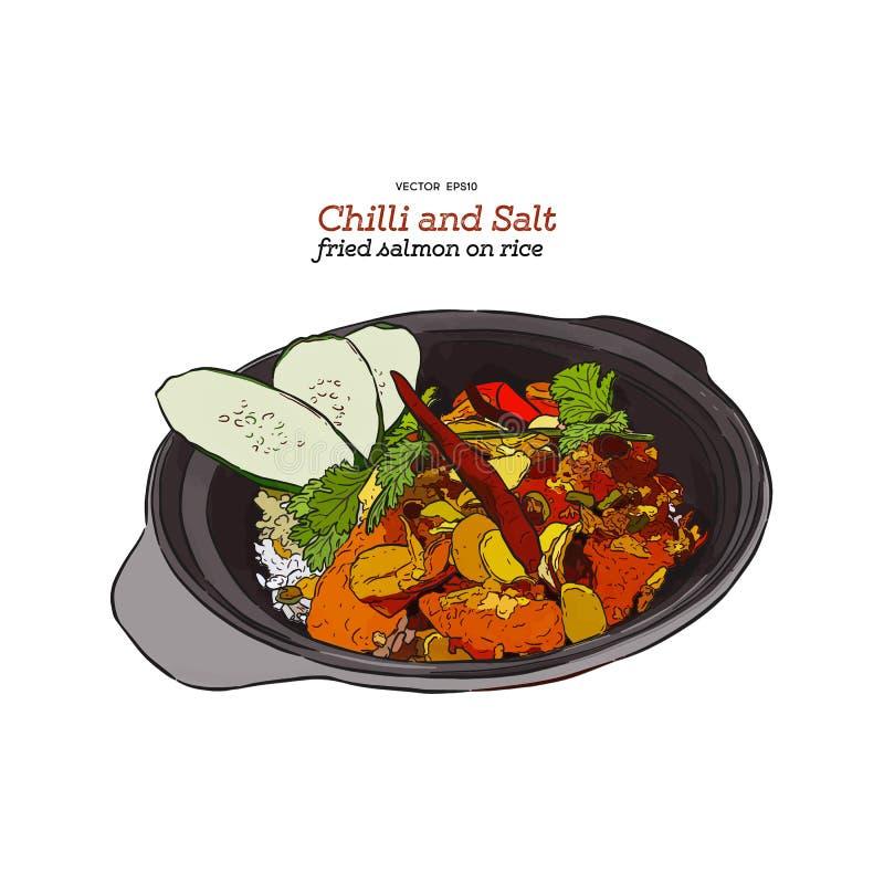 Spaanse pepers en zout gebraden zalm op rijst, vector stock illustratie