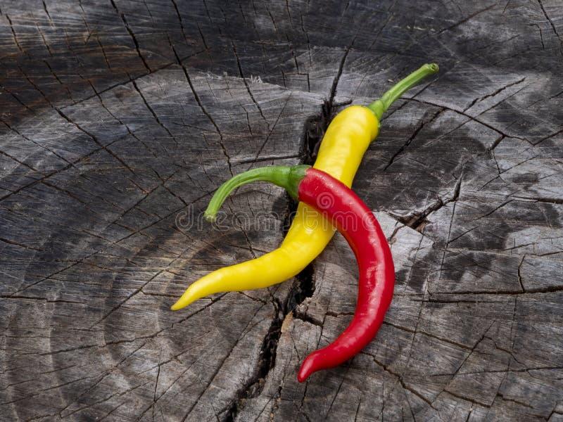 Spaanse pepers Ligt op een oude stomp royalty-vrije stock afbeelding