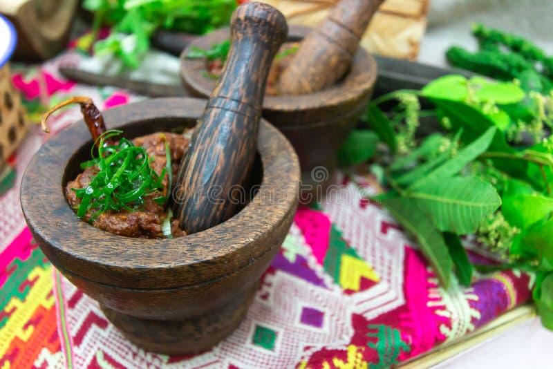 Spaanse pepersonderdompeling of Spaanse peperdeeg van Thais voedsel stock fotografie