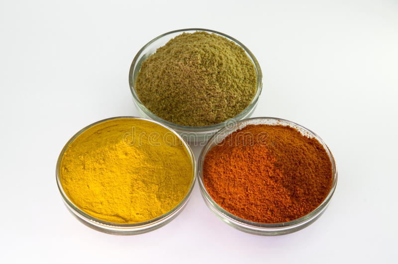 Spaanse peperspoeder, Kurkumapoeder & Korianderpoeder in Kom royalty-vrije stock foto