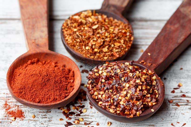 Spaanse pepersvlokken en paprika royalty-vrije stock foto