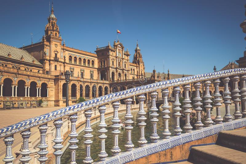 Spaanse Square Plaza DE Espana in Sevilla, Spanje royalty-vrije stock foto