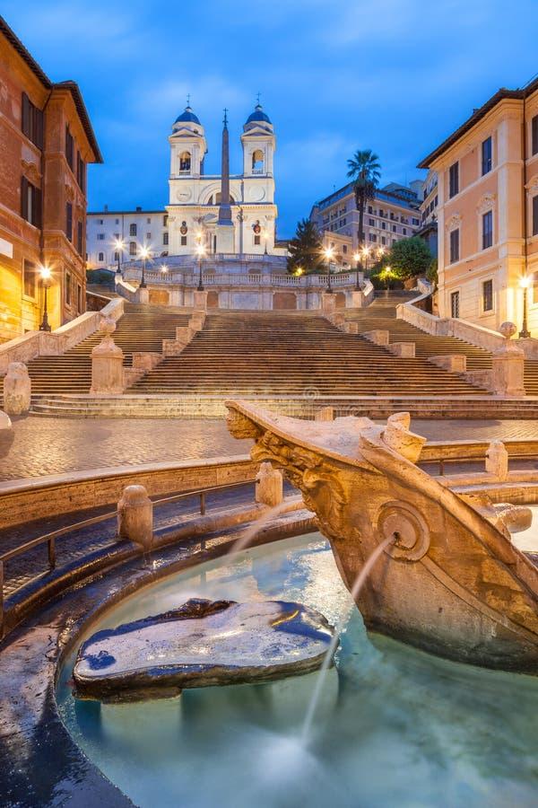 Spaanse Stappen bij Trinita-dei Monti bij dageraad, Rome, Italië, Europa royalty-vrije stock afbeeldingen