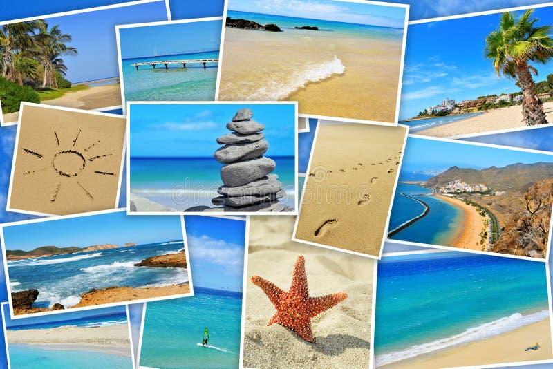Spaanse strandencollage royalty-vrije stock afbeeldingen
