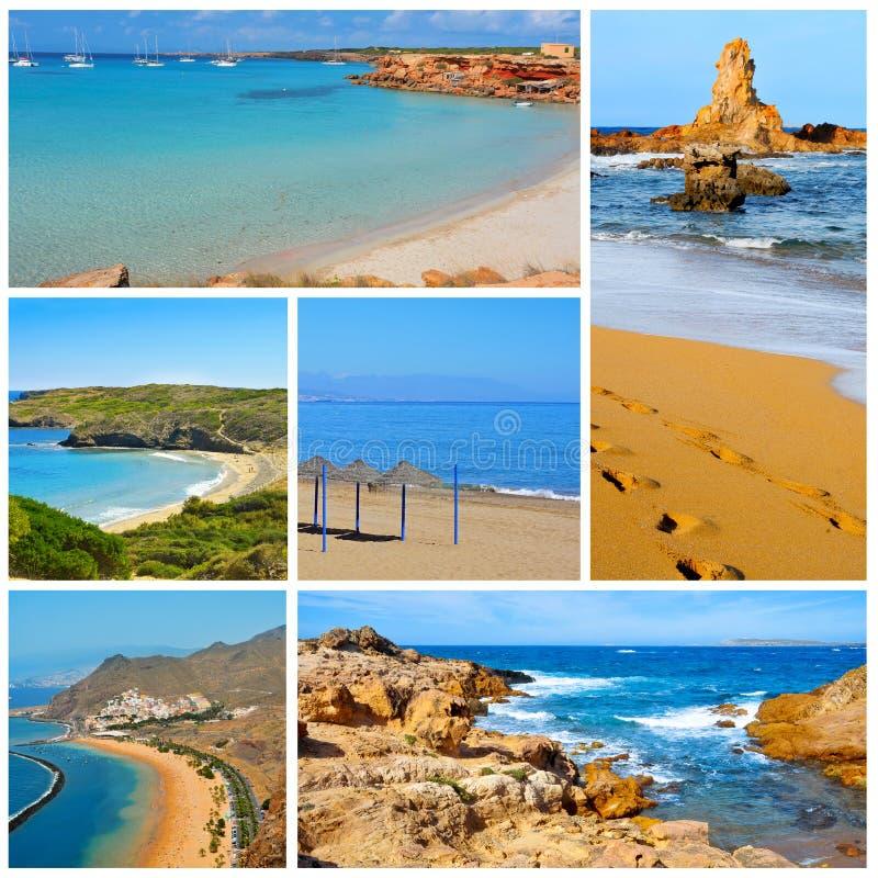 Spaanse strandencollage royalty-vrije stock afbeelding