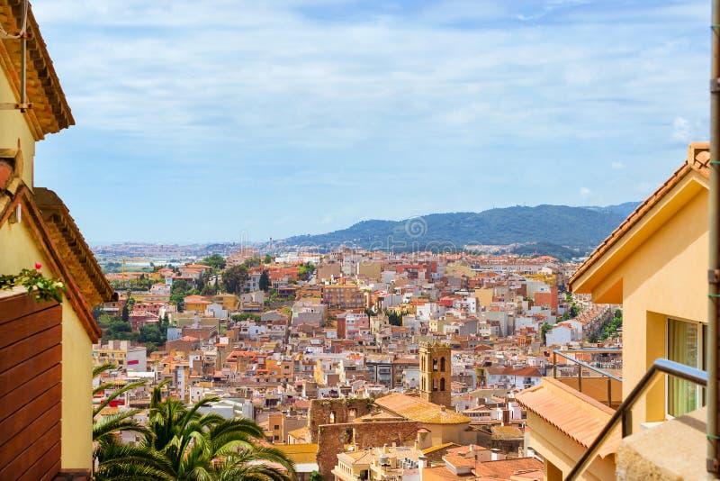 Spaanse strandtoevlucht Blanes, Costa Brava Catalonia stock fotografie