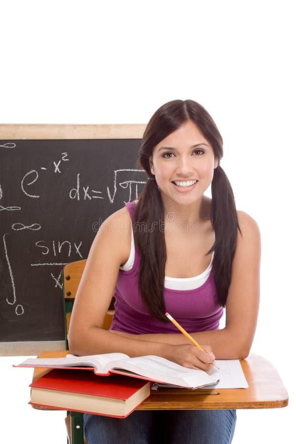 Spaanse Studentvrouw die math examen bestudeert royalty-vrije stock foto's