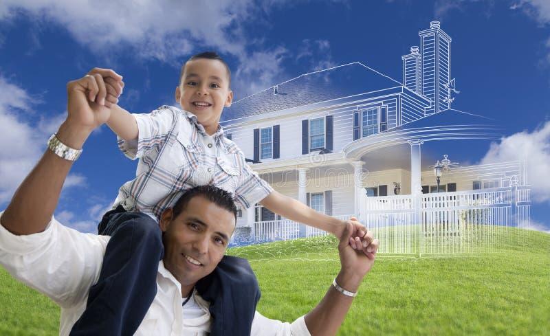 Spaanse Vader en Zoon met Ghosted-Huis erachter Tekening stock afbeeldingen