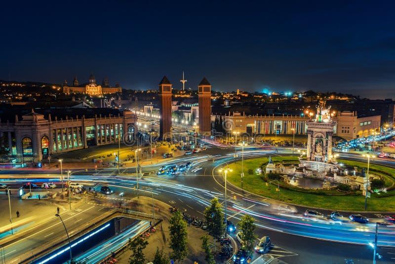 Spaanse Vierkante luchtmening in Barcelona, Spanje stock foto's