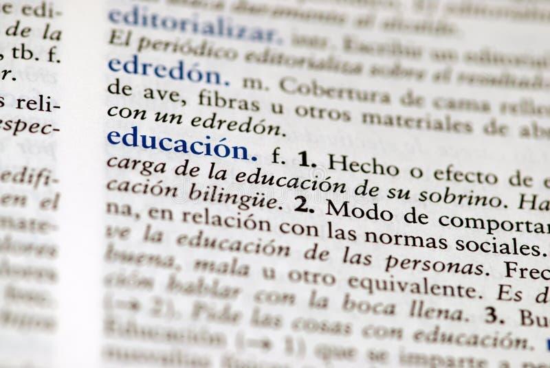 Spaanse woordenboekdefinitie van woordeducatio royalty-vrije stock foto