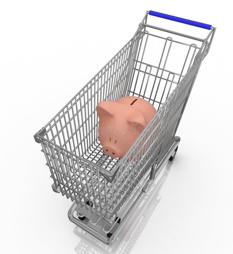 Spaarvarken in een boodschappenwagentje vector illustratie