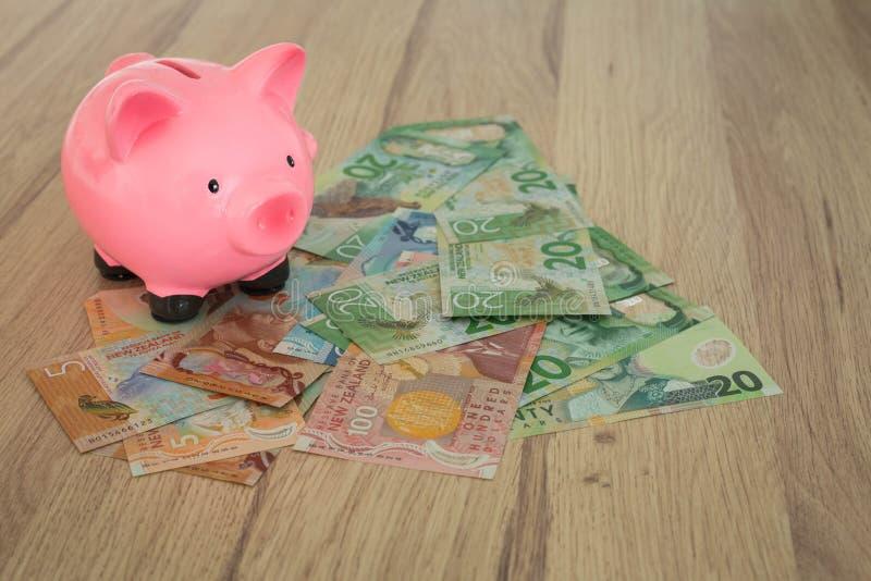 Spaarvarken en een bundel van dollars van Nieuw Zeeland Geldsavin royalty-vrije stock foto's
