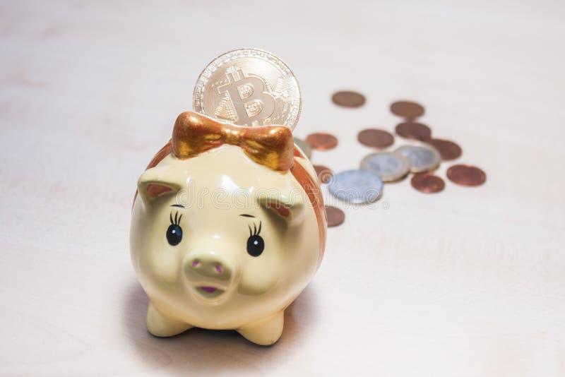 Spaarvarken en een gouden bitcoin stock afbeeldingen