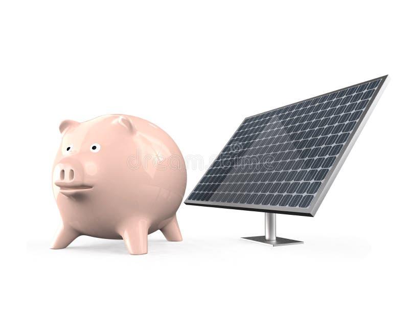 Spaarvarken en zonnepaneel vector illustratie