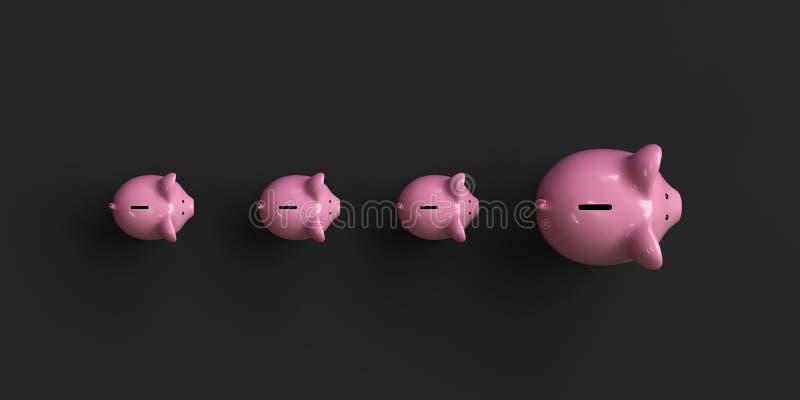 Spaarvarken, investeringsconcept, conceptueel beeld stock illustratie