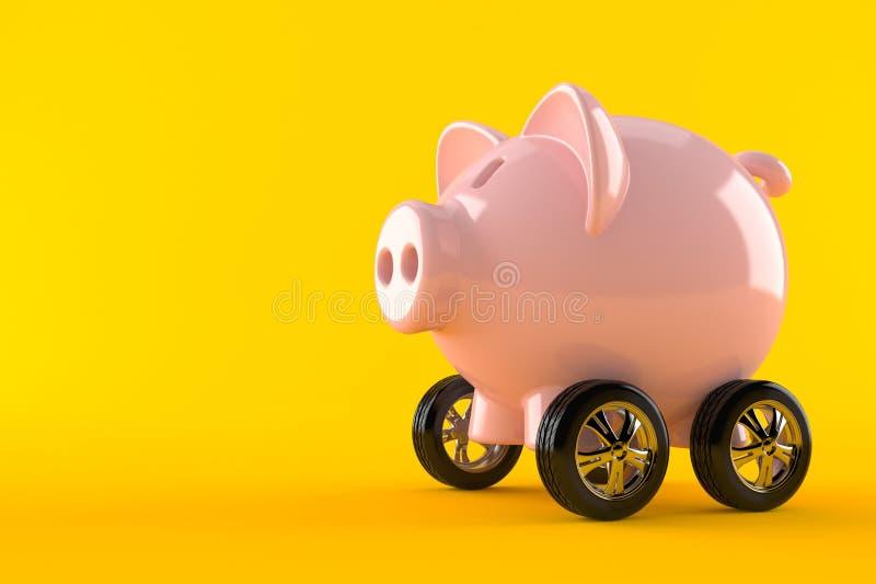 Spaarvarken met autowielen vector illustratie