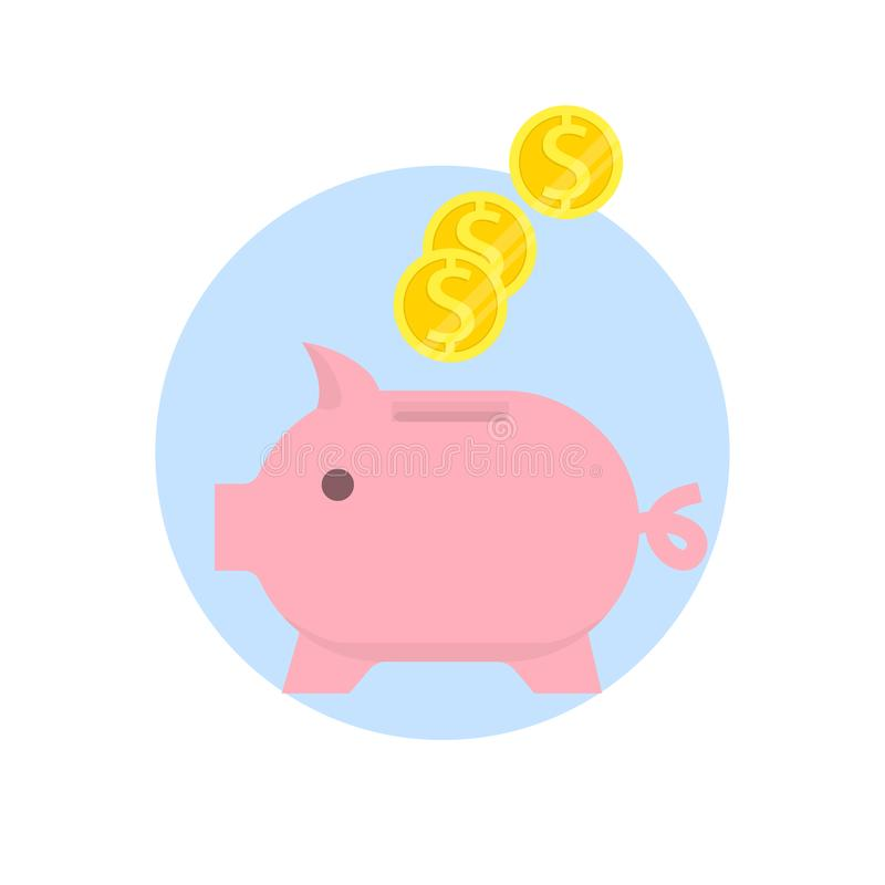 Spaarvarken met Dalende geïsoleerde Muntstukken op witte achtergrond Besparing of accumulatie van geld, investering Vlakke vector vector illustratie