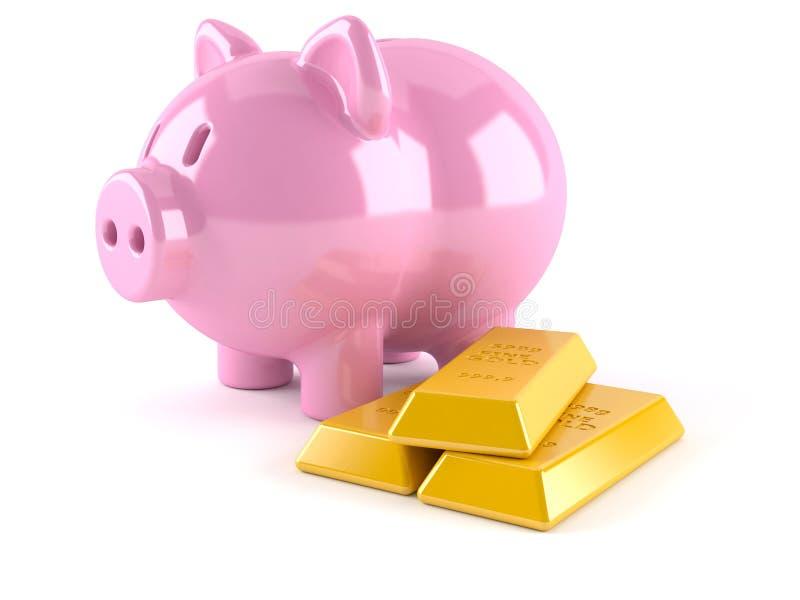 Spaarvarken met gouden baren stock illustratie
