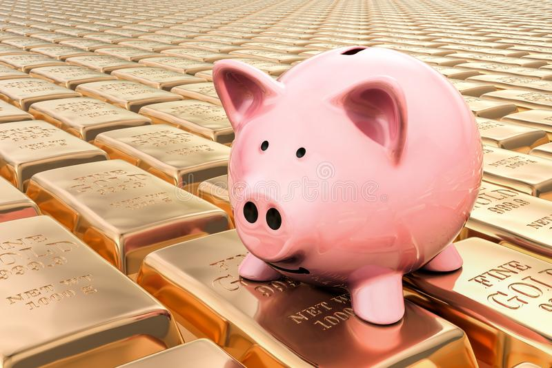 Spaarvarken met gouden 3D baren, stock illustratie