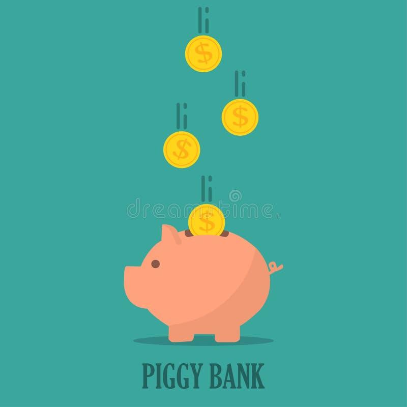 Spaarvarken met muntstukken in een vlak ontwerp Het concept besparing of bespaart geld of opent een bankstorting vector illustratie