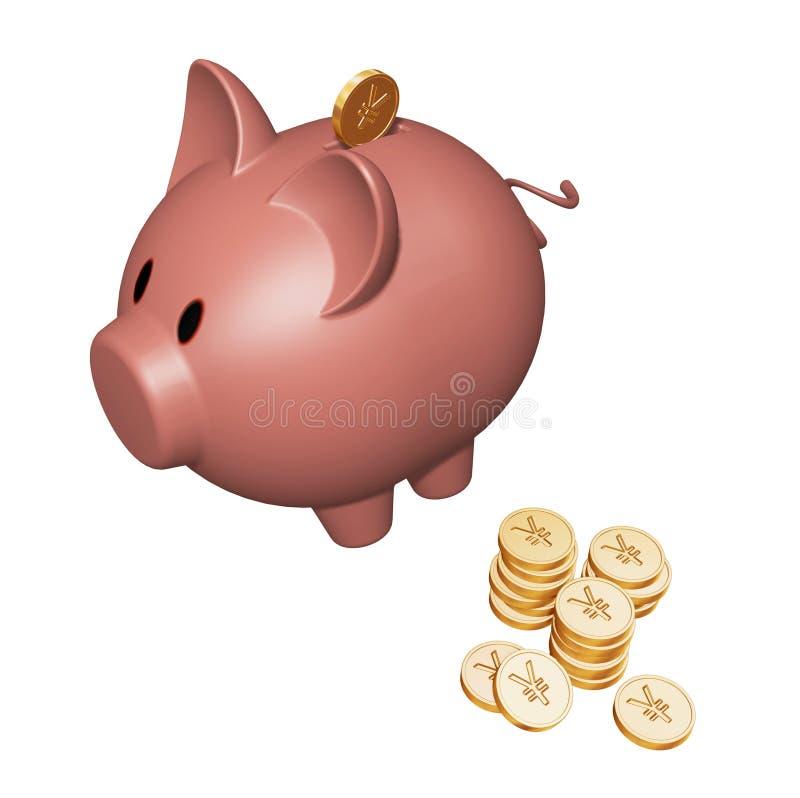 Spaarvarken met Yen royalty-vrije illustratie