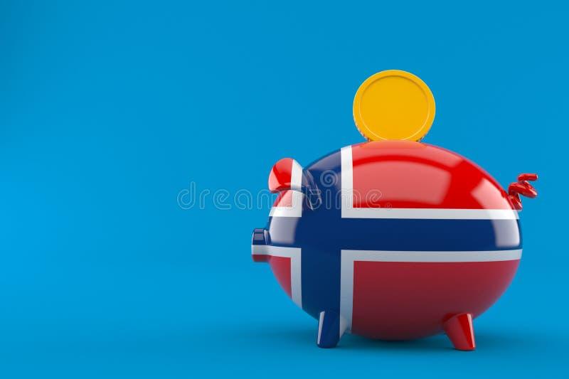 Spaarvarken in Noorse vlag met muntstuk stock illustratie