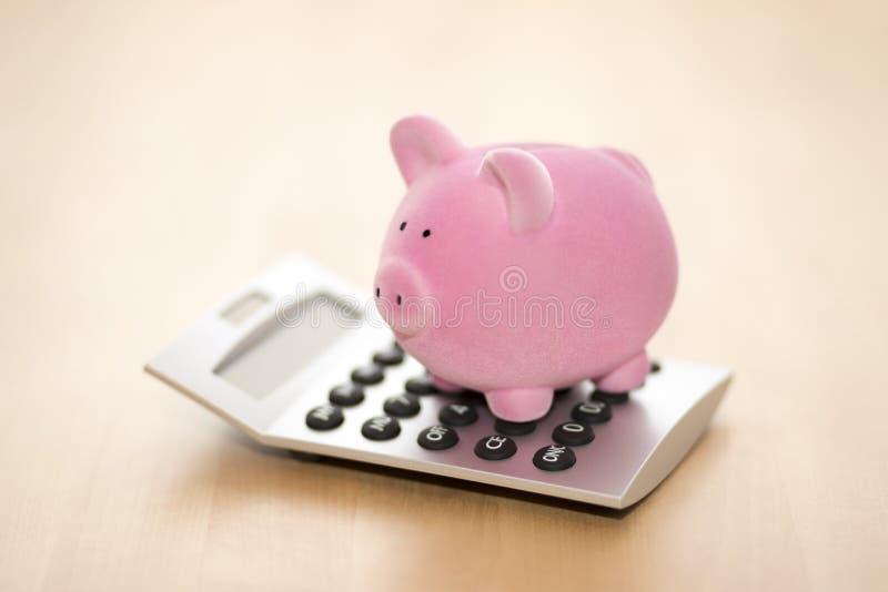 Spaarvarken op calculator Besparing, boekhoudings of bankwezenconcept royalty-vrije stock afbeelding