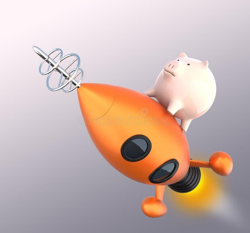 Spaarvarken op een raket stock illustratie