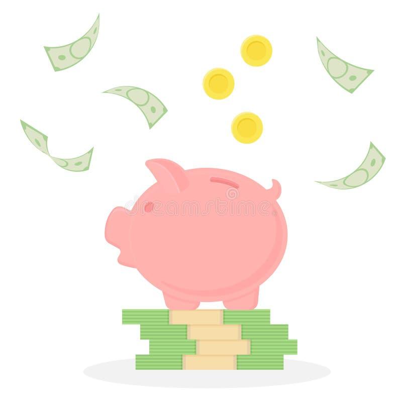 Spaarvarken op een stapel van geld Dalende bankbiljetten en muntstukken De regen van het geld vector illustratie