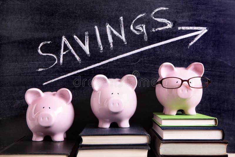 Spaarvarkens met besparingenbericht royalty-vrije stock afbeeldingen