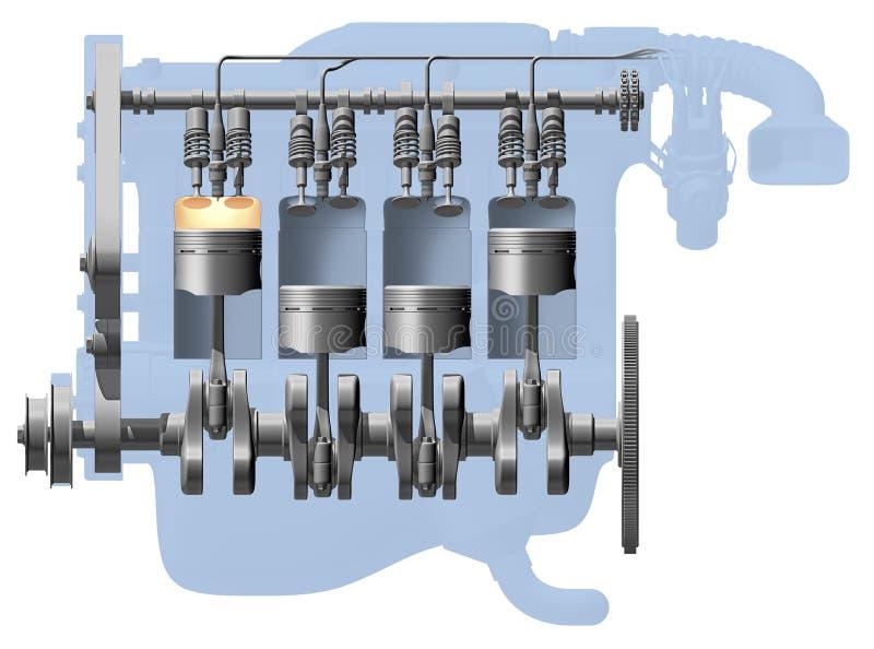 Spaccato del motore illustrazione vettoriale