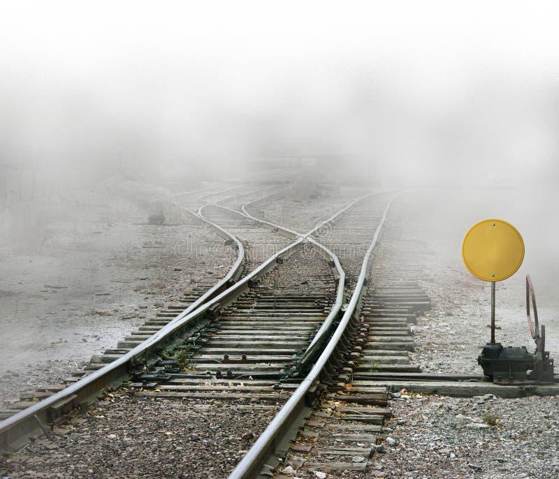 Spaccatura di piste del treno fotografia stock