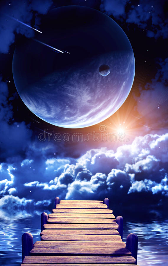 Space. A beautiful space scene with planets and nebula