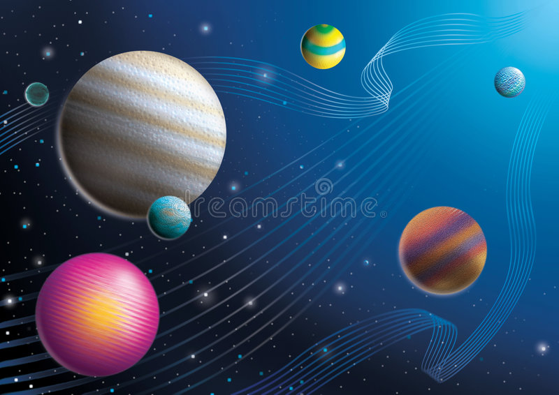 Space. Cosmos imagination drawing with beautiful line stock illustration