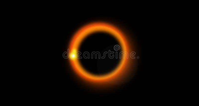 Space. Abstract background. Black Hole. Universe. Bright strips. Glow. orange ring stock illustration