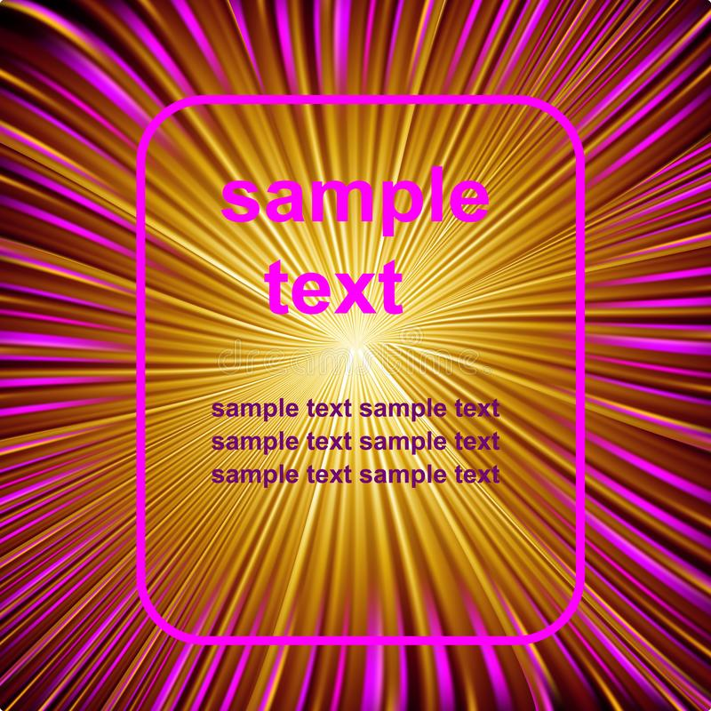 Space abstract fantastic background with bright scarlet and yellow rays stock illustration