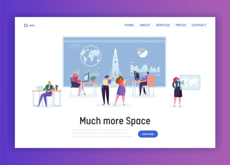 Space Administration Office Landing Page. Character Work on Aeronautics and Aerospace Research. Engineer Construct Rocket vector illustration