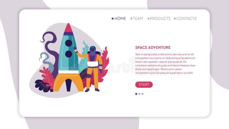 Space adventure cosmos exploration spaceman or astronaut web page vector illustration