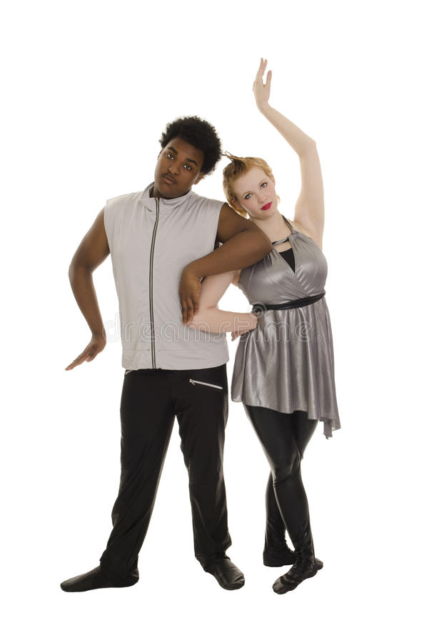 Space Age Contemporary Dancers Couple Stock Images