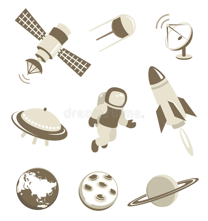 Download Space And Air Transport Icons Set Stock Vector - Image: 27631909
