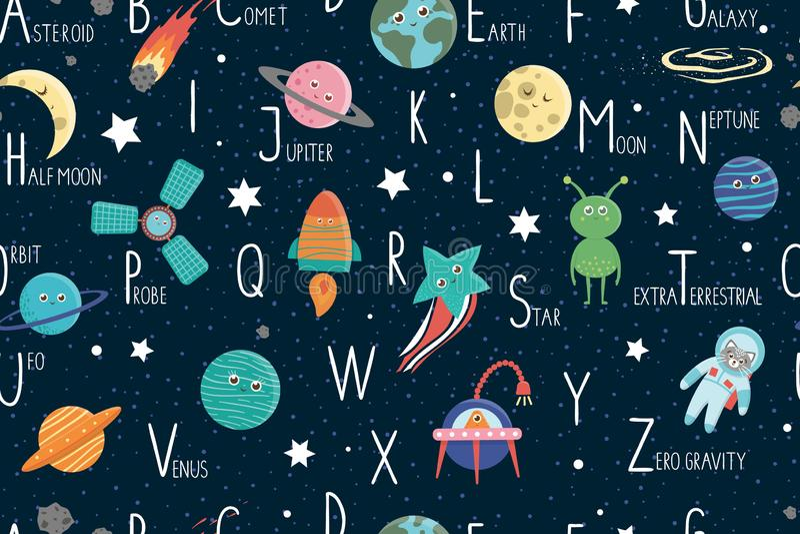 Space alphabet seamless pattern for children. stock illustration