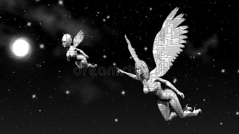 Space angels. 3D rendering. Art. 4K. stock photography