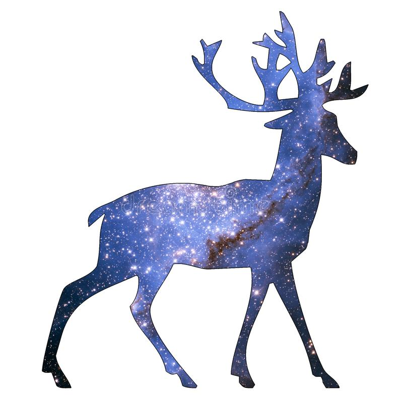 Space Animal Elk. Illustration of space animal Elk. Space animals are cute and mystical creatures who travel in the sky among the stars in everlasting fairytales stock illustration